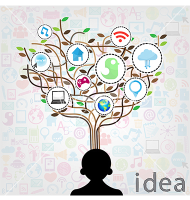 Social network education concept pencil tree with multimedia ico